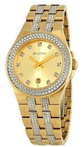 Relógio Masculino Bulova Dourado/ouro Cristal Swarovski