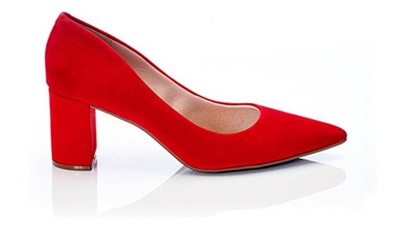 Zapato Stiletto Zaira Nobuck Massimo Chiesa Mujer Negro Rojo