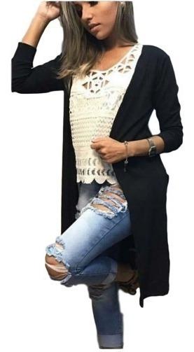 Cardigan Kimono Liso Feminino Casaco Manga Longa Fenda
