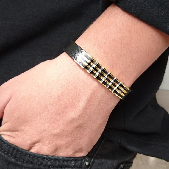 Bracelete Pulseira Masculina Couro E Aço Banhado Ouro 18k