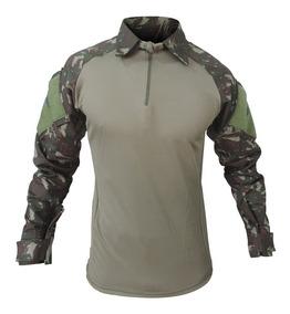 Camisa Masculina Combat Shirt Airsoft Reforçada Em Rip Stop