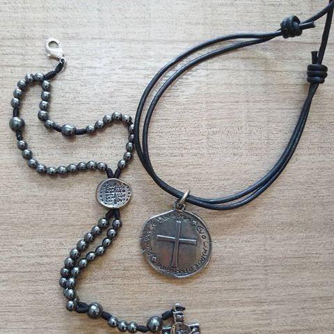 Kit Colar + Pulseira Medalha Das Duas Cruzes - São Bento