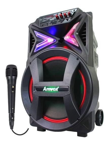 Caixa De Som Amplificada Amvox Aca 400 Strondo Microfone