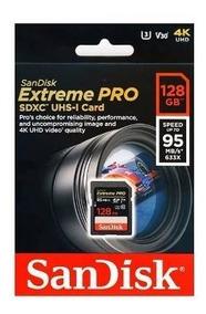 Cartao Sd Xc Sandisk Extreme Pro 128gb 95mb/s Uhs-3 C10 4k
