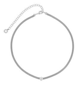 Morana | Colar Choker Prateado Ródio Branco