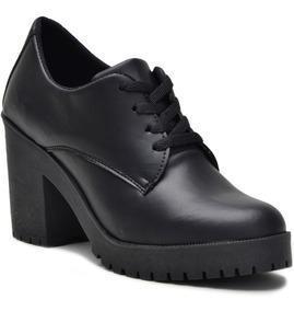 Sapato Oxford Feminino Tratorado Verniz Salto Alto Novidade