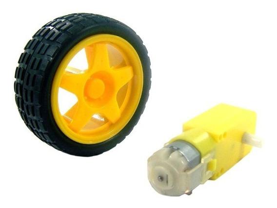 Roda Pneu Motor + Caixa De Redução Smart Car Para Arduino