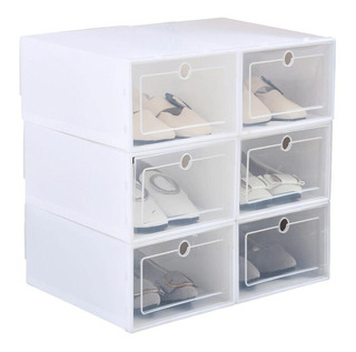 12 Unidades Organizador Zapatos Apilables Blanco Hasta T.44