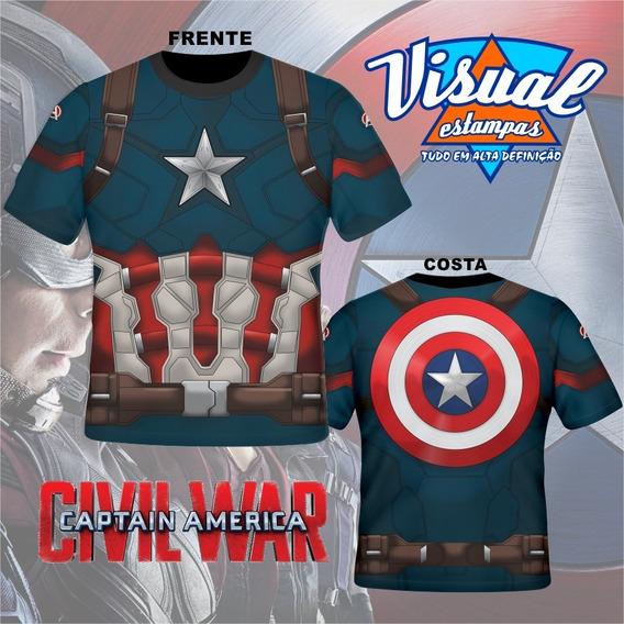 Camiseta Capitão Amarica Guerra Civil Com Escudo