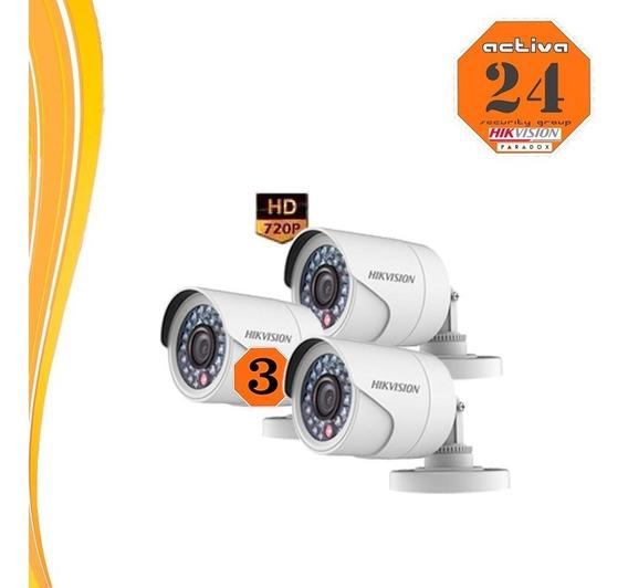 Hikvision Camara Hd 720p 3 Tres Unidades 16- Cot- Ipf