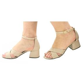 fdb105f16c Sandália Tira Cruzada Nude Salto Grosso - Sapatos no Mercado Livre ...