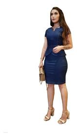 Roupas Femininas Vestido Médio Lycra Modela Corpo Evangélica