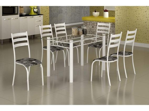 Conjunto Mesa C/ Tampo Vidro E 6 Cadeiras Madmelos Bb