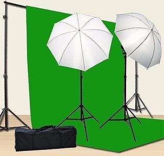 Kit Fotográfico Con Iluminación Pantalla Verde Y Soportes