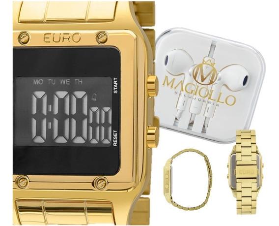 Relógio Feminino Digital Led Dourado Preto Quadrado Euro Eug2510aa/4p Original Com Estojo