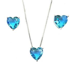 Colar E Brincos Feminino Zirconia Coração Azul Semi Jóia