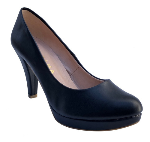 Imagen 1 de 10 de Zapatos Cerrado Negro Moda Tacón Perfecto Mujer