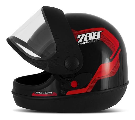Capacete Masculino Sport Moto 788 Vermelho Pro Tork