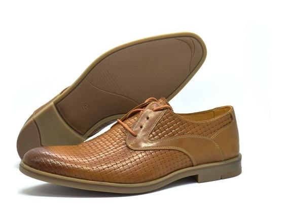 Zapatos Cuero Natural Rinaldi Hombre Moda Asfl70 Entrelazado