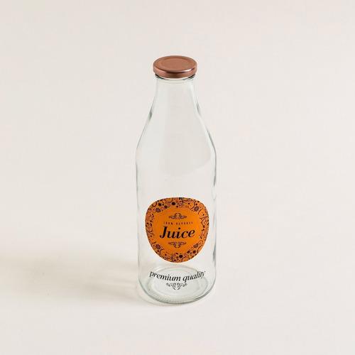 Botella De Vidrio Con Tapa Y  Logo Color Cobre Juice