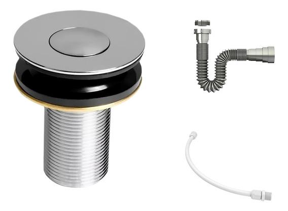 Kit C/válvula Click Up 7/8b + Sifão Cromado + Flexível