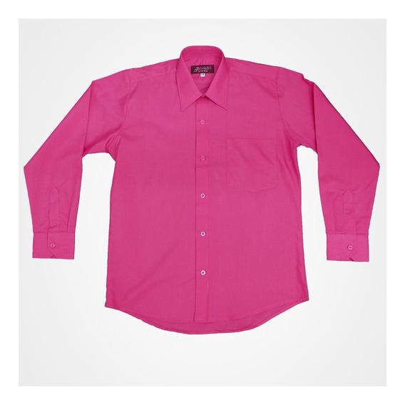 Camisa Manga Larga De Vestir Rosa Fiusha Con Moño Incluido