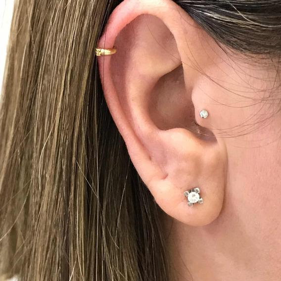 Ouro 18k Piercing Tragus Cartilagem Argola Fecho Trava Clip