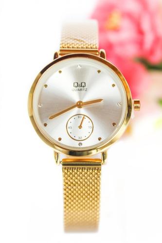 Reloj Q&q Qyq Original Mujer Acero Dorado + Envío Gratis