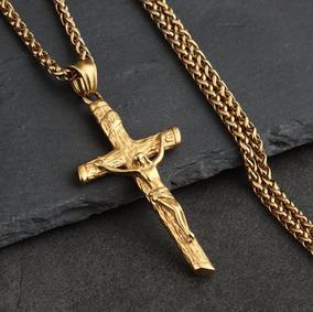 Colar Crucifixo Dourado Cruz Jesus Folheado Ouro 18 Garantia