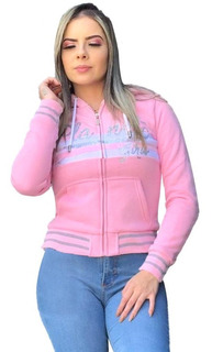 Blusa Moletom Dupla Face Rose Letreiro Paetê Planet Girls