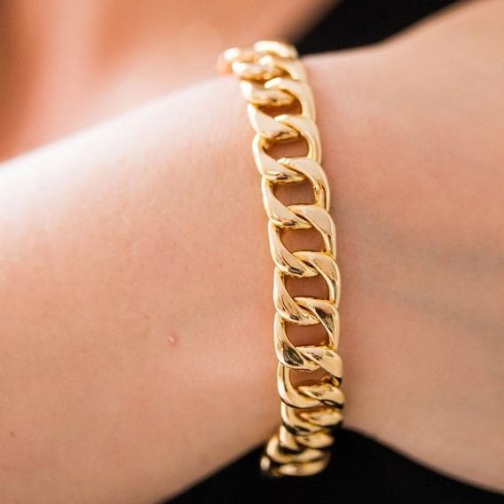 Pulseira De Elos Feminina Banho Ouro 18k Dourada