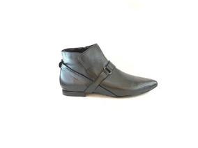 Zapato Mujer Bota En Punta Natacha Cuero Negro #152
