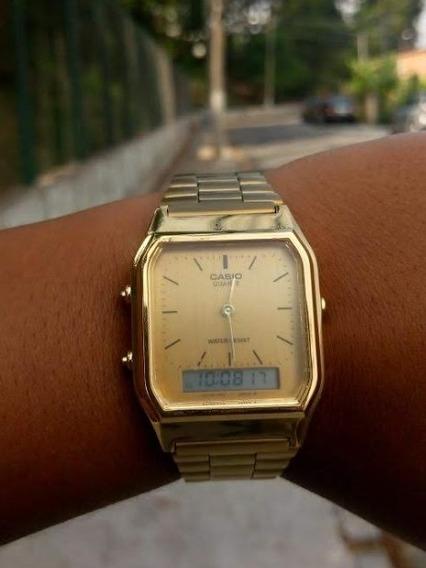 Relógio Masculino Feminino Casio Aq230 Gold Promoção