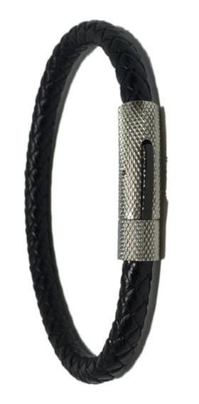 Pulseira Masculina De Couro Com Detalhe Em Aço Prata Convex