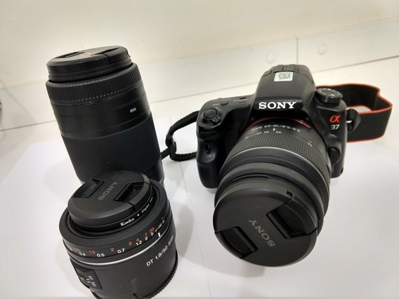 Camera Sony Alpha 37 Dslr C/ Lentes 18-55 - 75-300 - 50mm