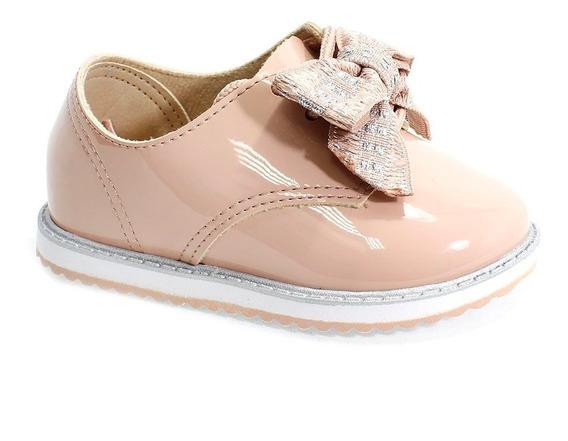 Sapato Molekinha Oxford Verniz Rosa Menina