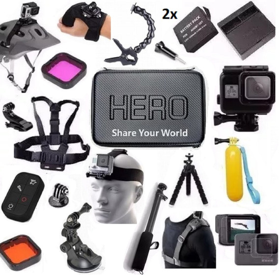 Kit P Gopro Hero 5 Hero 6 Hero 7 Black Bateria Jaws Controle