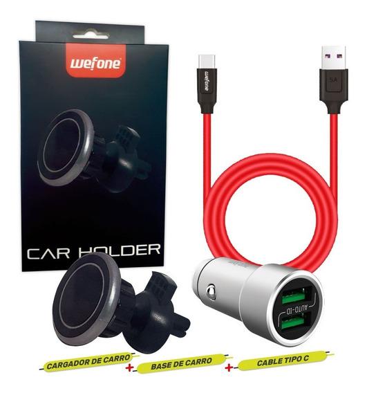 Combo Cargador De Carro, Cable, Soporte Para Carro Wefone