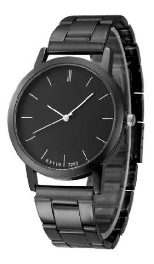 Reloj Acero Negro Marca Kevin Hombre Moda Mujer Mayoreo Roma