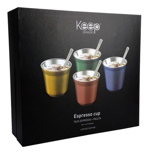 Imagen 1 de 7 de Set Tazas De Café Expresso Acero Inoxidable