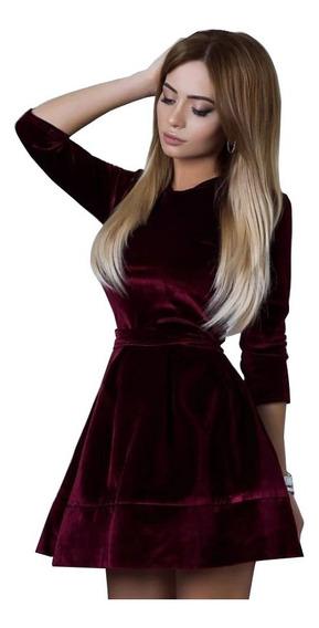 Vestido De Terciopelo Corto Sexy Elegante Casual Rojo Vino