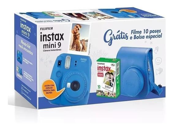 Câmera Instax Mini 9 Azul Cobalto, Câmera, Bolsa+ 70 Filmes