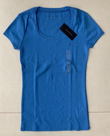 Camiseta Tommy Hilfiger Feminina Cores Lisa Azul Original