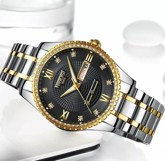 Relógio Feminino Nibosi Dourado Analógico Com Caixa Promoção