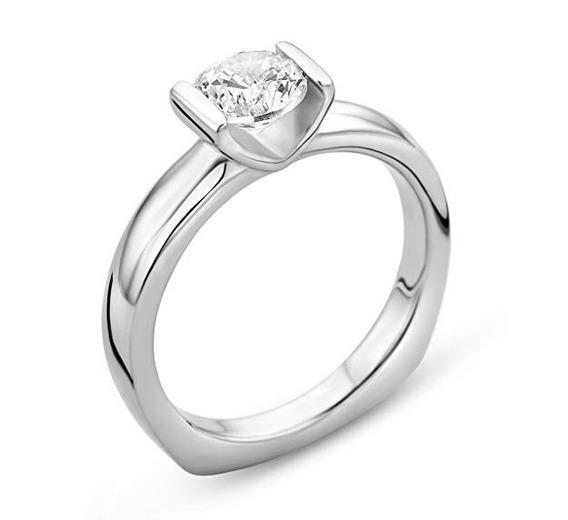 Anillo De Compromiso Oro Blanco 14k Diamante 0.02ct Mod 3
