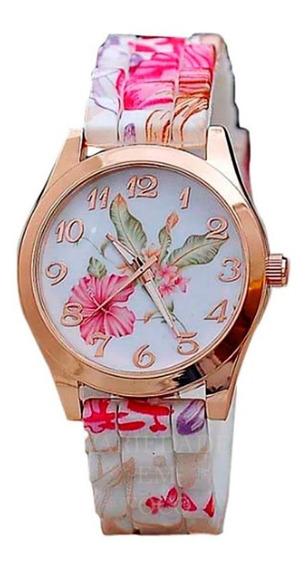 Relógio Feminino Floral Pulseira Macia
