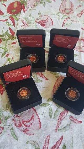 Coleção Com 4 Moedas Comemorativas Olimpiadas 2016 Ouro