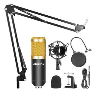 Kit Radio Locucion Microfono Condenser Brazo Filtro Araña