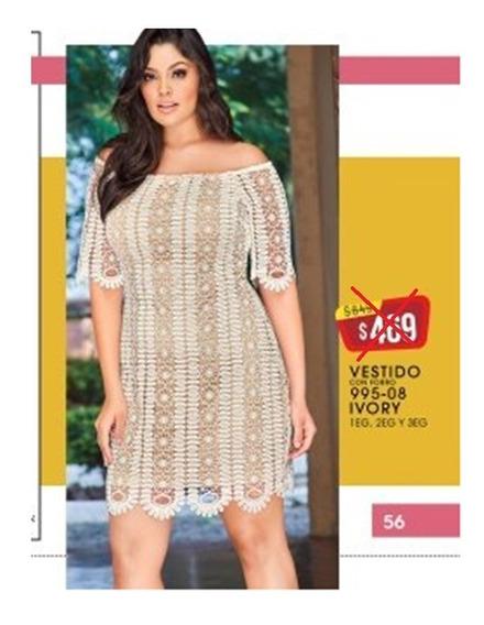 Vestido Ivory Crochet Curvy Line Cklass 995-08