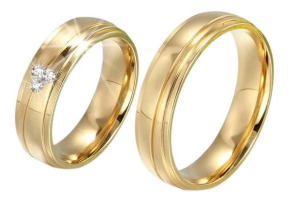 Par De Alianças Casamento Noivado Banhada 3 Banho Ouro 18k